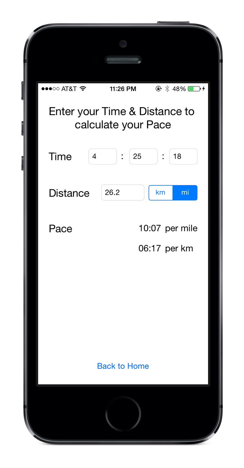 PaceMyRace on iPhone